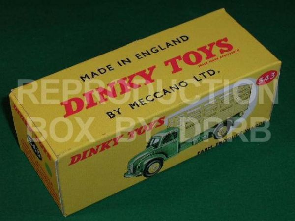 Dinky #343 (30n) Farm Produce Wagon - Reproduction Box ( Green and Yellow Finish )